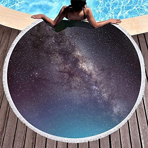 YUANCHENG Toalla de Playa Redonda de Microfibra de Cielo Estrellado Impresa en 3D para Adultos Summer Toalla Tassel Yoga Mat