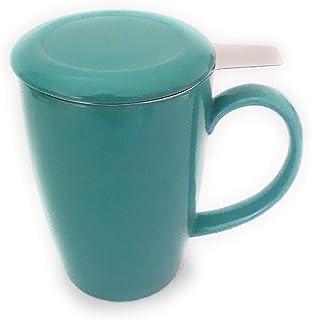 CIB Infuser Tea Mug With Lid, 15 oz, Teal, 3 Piece Set