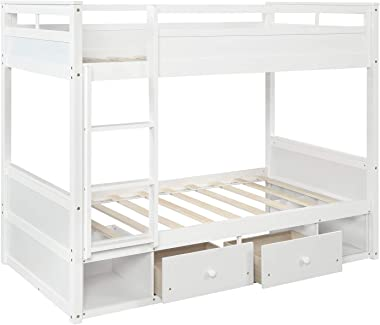 Kids Bed Multifunction Furnitrue Kids Bed Wood Twin Over Twin Full Bunk Bed Frame with 2 Drawers and 2 Storage Cabinets (Twin)