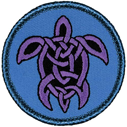 Celtic Turtle Patrol Patch - Blue & Purple - 2' Diameter Round Embroidered Patch (Hook Fastener)