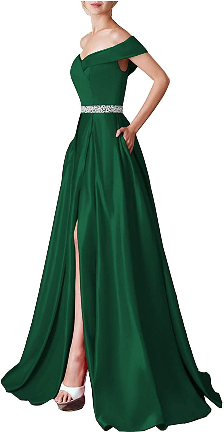Sulidi Women's Off Shoulder Prom Dresses 2019 Long Beaded Satin Evening Formal Ball Gown Aline C194