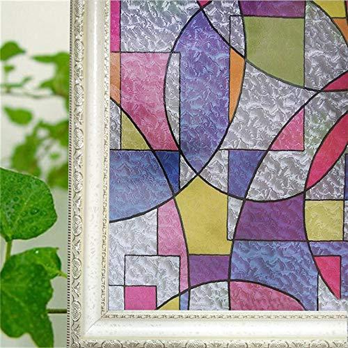 LMKJ Película de Ventana Decorativa de Vidrio Esmerilado con patrón geométrico de Colores; Pegatina electrostática Pegatina de protección de la privacidad A61 40x200cm