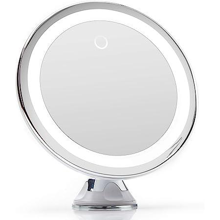 Fancii Miroir Grossissant x10 Lumineux LED avec Ventouse, USB ou Batterie - Miroir Maquillage de Voyage avec Lumière Naturelle Dimmable (Luna)