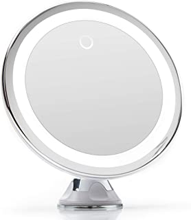 Fancii 10X vergrotende make-up spiegel met dimbaar natuurlijk LED licht - USB & batterij, 20cm breed, Sterke Zuignap, Chro...