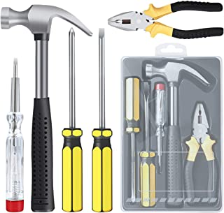 E·Durable Household Hand Tool Kit 5 Pieces Homeowner Tool Set General Repair Toolkits for DIY Home Garage and Workshop wit...