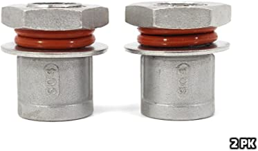 CONCORD 304 Stainless Steel Weldless Bulkhead Fitting Set. Red High Temp O-Ring with Grooved Locknut for Brew Kettles (RED EDITION) (2)