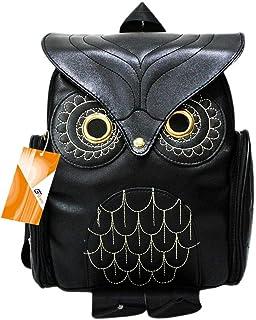 GinTai Women Girls Pu Leather Owl Cartoon Backpack Fashion Casual Satchel Small Backpack, Black