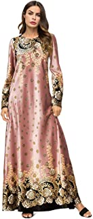 Medeshe Women's Loose Crewneck Gold Tribal Ethnic Print Casual Dress Party Maxi Dress