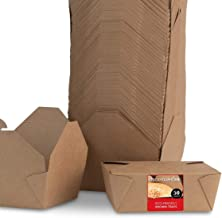 Take Out Food Containers Microwaveable Kraft Brown Take Out Boxes 45 oz (50 Pack) Leak and Grease Resistant Food Containers - Recyclable Lunch Box - To Go Containers for Restaurant, Catering and Party