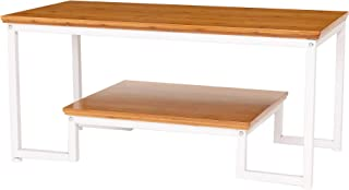 UNINCOO Modern Simple Style Sturdy Coffee Table, Cocktail Table with Storage Shelf for Living Room, Solid Wooden Table Top with Metal Frame, Easy Assembly (Nature Top/White Legs)