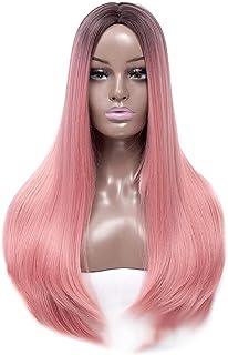 YESONEEP 女性のピンクのかつら22インチロングストレートヘアヒートセーフ人工毛ホワイトまたは淡い頭皮のパーティーのかつら (Color : ピンク)