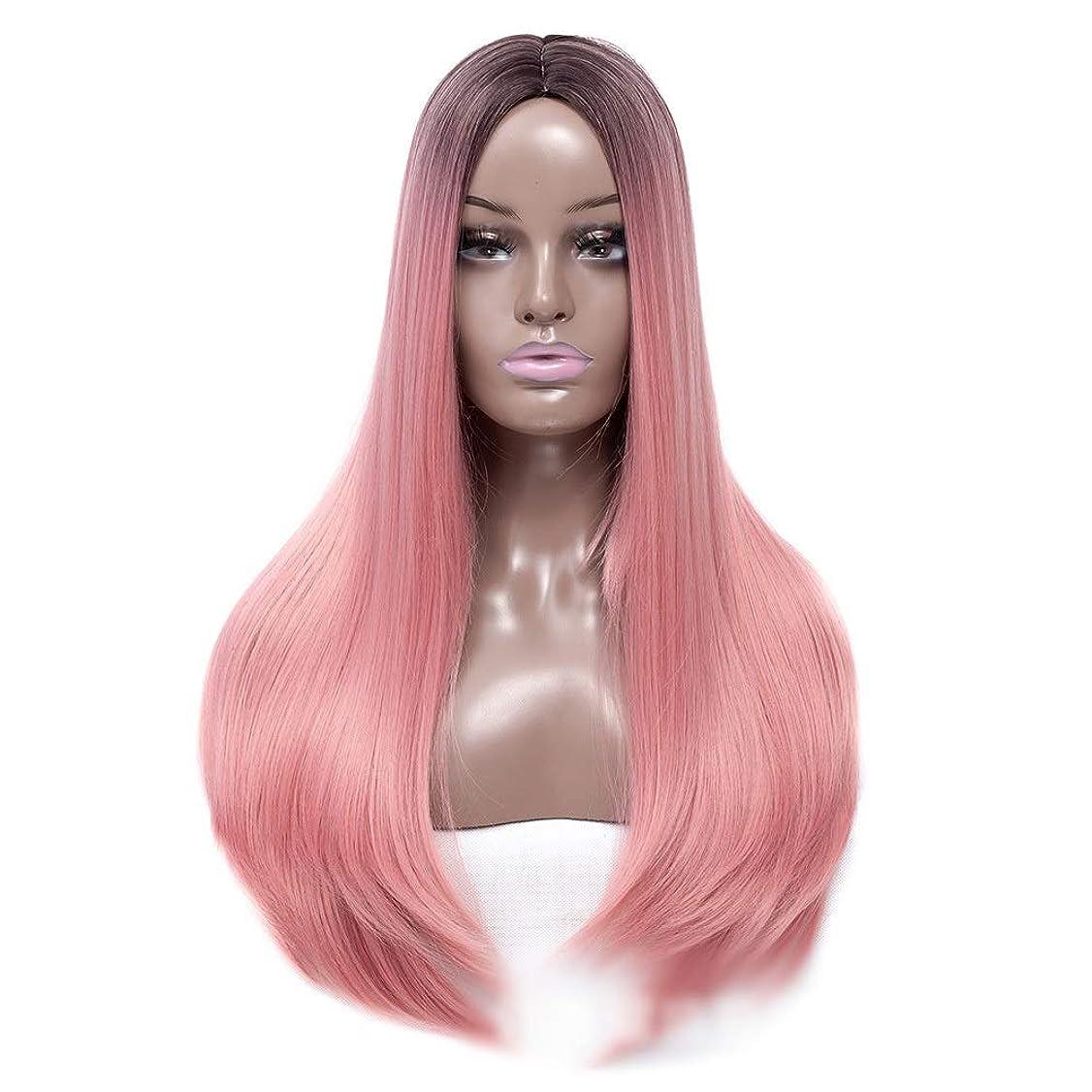 襲撃作曲家地球BOBIDYEE 女性のピンクのかつら22インチロングストレートヘアヒートセーフ人工毛ホワイトまたは淡い頭皮のパーティーのかつら (Color : ピンク)