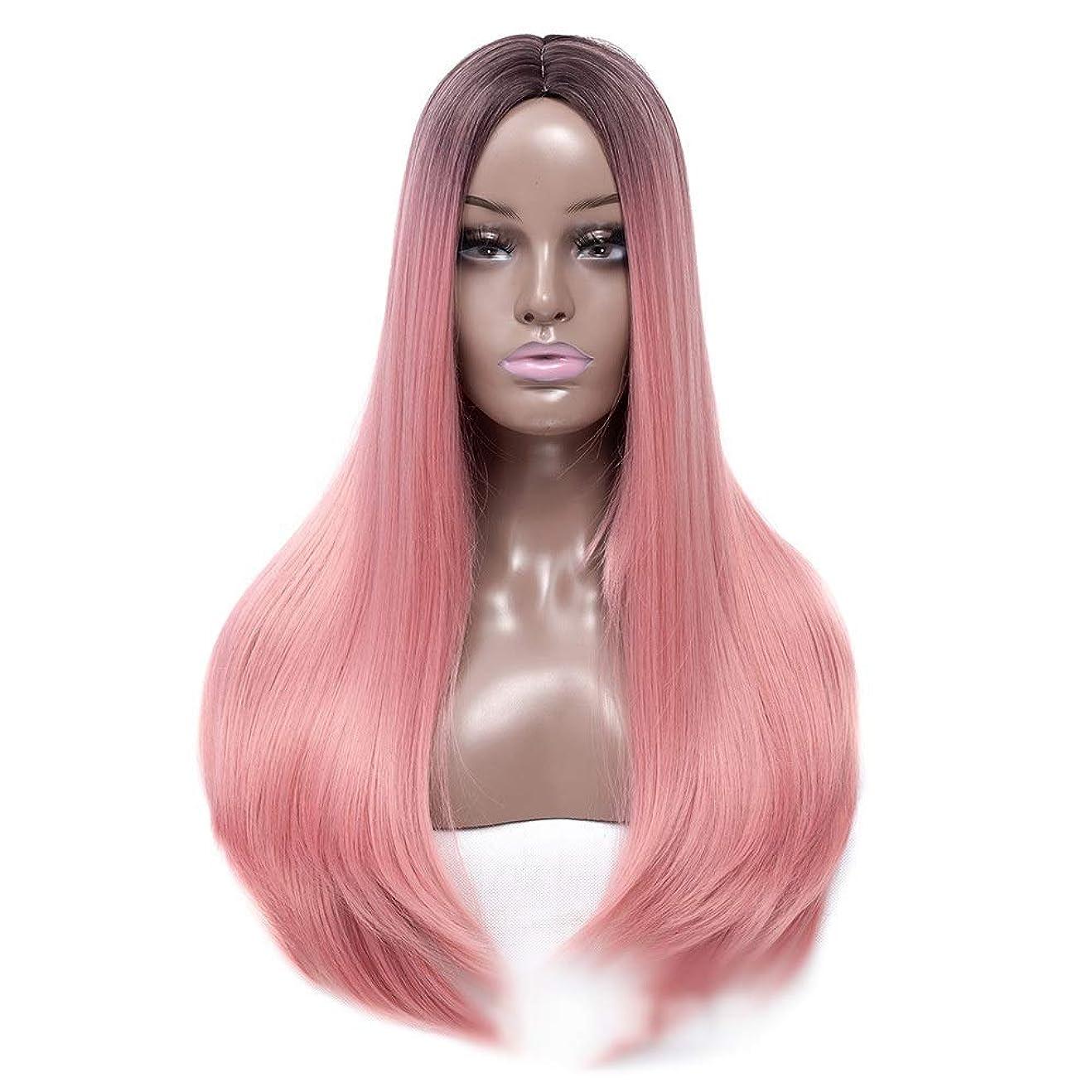 に対して女優ベルYESONEEP 女性のピンクのかつら22インチロングストレートヘアヒートセーフ人工毛ホワイトまたは淡い頭皮のパーティーのかつら (Color : ピンク)