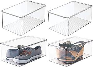 mDesign boîte de Rangement pour Chaussures avec Couvercle – Lot de 4 – casier pour Chaussures superposable – boîte à Chaussures en Plastique Transparent – 46,99 x 81,91 x 32,38 cm
