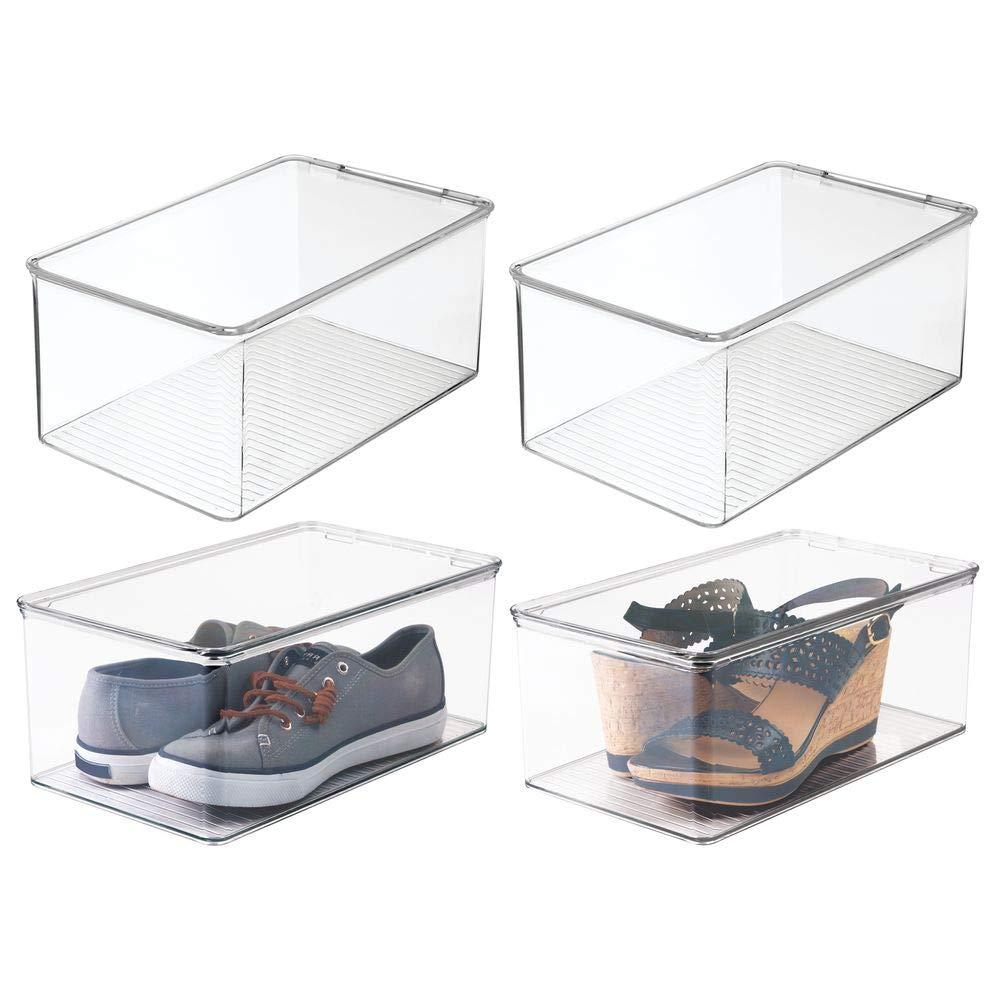 mDesign organizador de zapatos - Organizador plástico apilable con tapa en color transparente - Set de 4 cajas: Amazon.es: Hogar