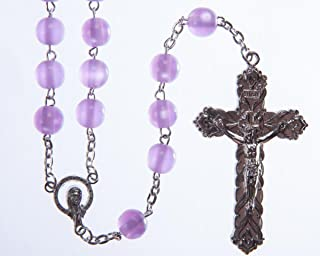 Lilac Rosary Bead Large Bead Rosary Metal Crucifix and wire. Strong Rosary Beads. Hand made Rosary. Perfect Communion Rosary Gift