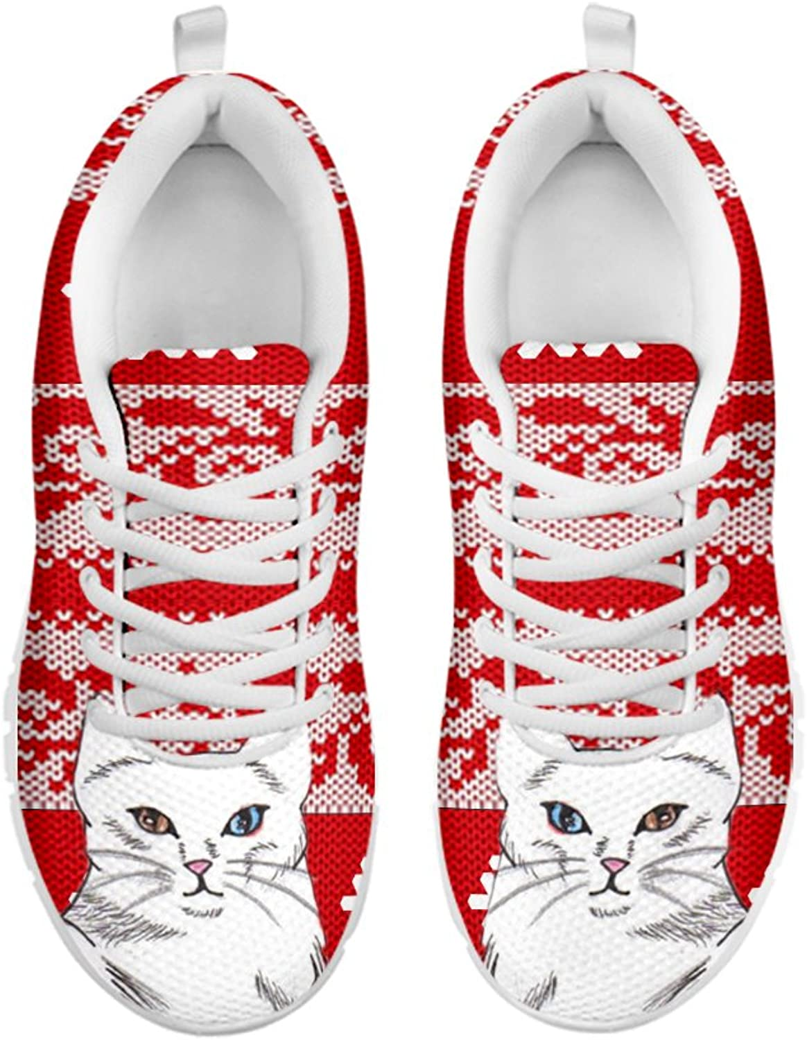 Petkanvas Women's Sneakers-Turkish Angora Cat Print Women's Casual Sneakers White