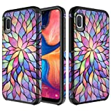 A10E Case, for Samsung Galaxy A10E Cute Heavy Duty Defender Shockproof Impact Resist Dual Layer Girls Hybrid TPU Reinforced Compact Slim Cover [Free Emoji] (Rainbow)