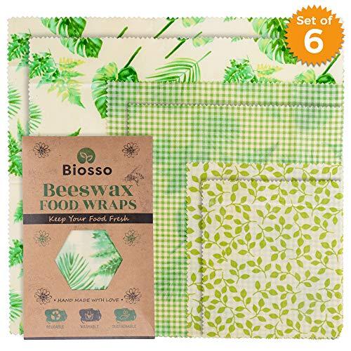 Biosso Premium Beeswax Food Wraps (Braun) Bienenwachstücher | 6er Set | Groß, Mittel, Klein | 6 Tücher 3 Größen