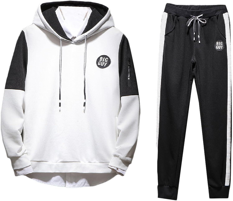 - Fieer Men's Contrast Contrast Contrast 2 Piece Set Hoode Pockets Athletic Fit Sweatsuit ebef84