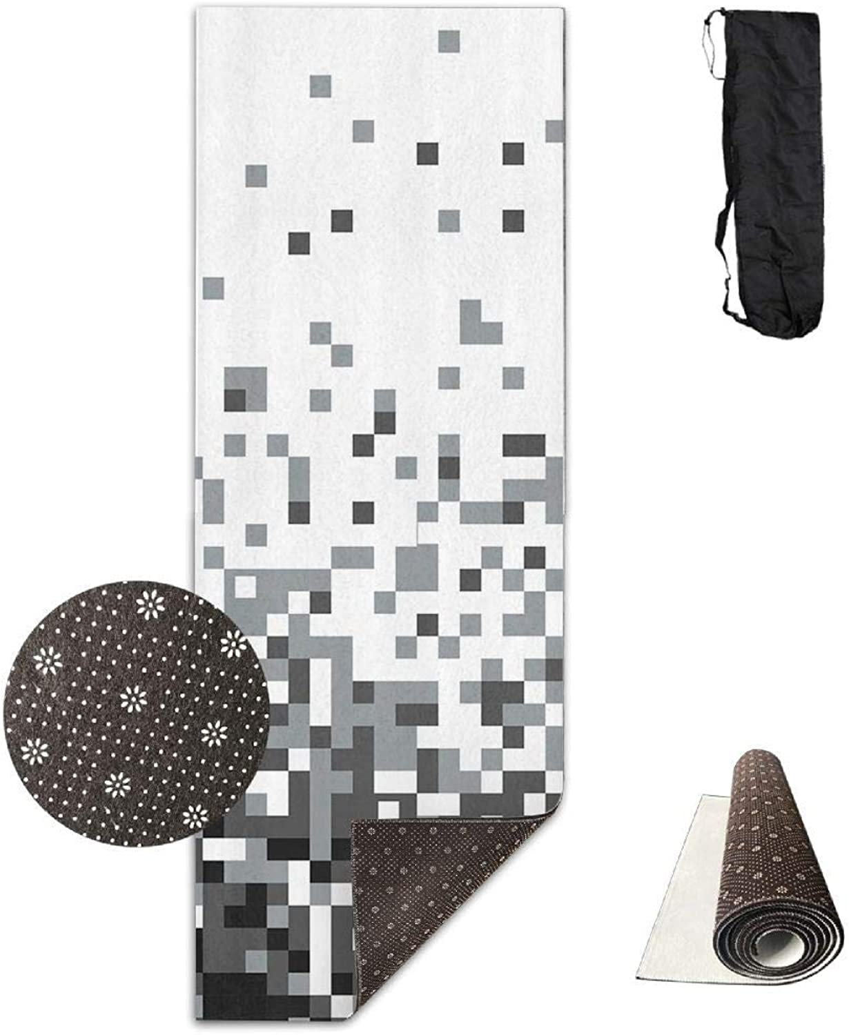 70inch Long 28inch Wide Comfort Velvet Yoga Mat, Geometric Squares Abstract Mat Carrying Strap & Bag