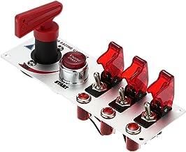 kkmoon Flip-Up - Panel de encendido botón inicio DIY modificación accesorios vehículos interruptor para Racing Sport auto de competición con indicador LED rojo