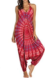 Jumpsuits Women V-Neck Loose Playsuit Gym Yoga Gypsy Jogging Harem Pants Baggy Palazzo Trousers