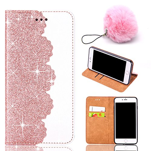 VANDOT Custodia iPhone 6 6S Plus, Custodia in Pelle Glitterata con Interno Antiurto Supporto Stand, Carta Fessura e Flip Wallet Case per Apple iPhone 8/7, Dare Una Palla Rosa - Oro Rosa