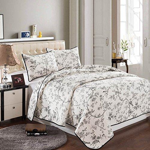 Beddingleer Gesteppt Tagesdecke Bettueberwurf Weiss Baumwolle Blumenmuster Patchwork 220 x 240 cm Sofa Couch Überwurf Decke Sommerdecke für Doppelbetten