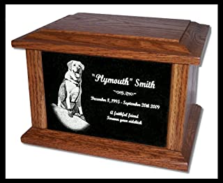 StoneArtUSA Pet Cremation Memorial Urn by Eric Custom Personalized Engraved Granite Oak Wood Photo Marker Dog Cat Pet Ashes - Large for Pets up to 130 Lbs.