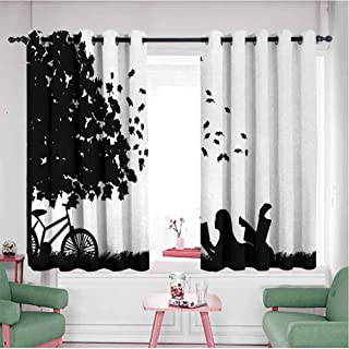 HCCJLCKS Heat Insulation Curtain Silhouette of a Girl with Bike Reading a Book Under a Tree in Fall Simple Style Black and White W72 x L72