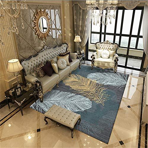 WQ-BBB Alfombras Dormitorio Estilo Moderno Diseño de patrón de Plumas Amarillo Azul Blanco Negro alfombras pequeñas 50X80cm