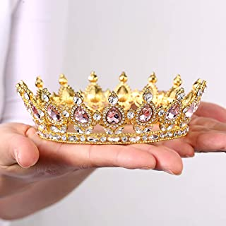 Crystal Crown Vintage Peacock Rhinestone Crown Strong Stones Will Not Fall Birthday Party Beauty pageant Adult Ceremony Prom Wedding Cake Topper For Mother Bride Bridesmaid Queen Princess Girl(Gold-pink)