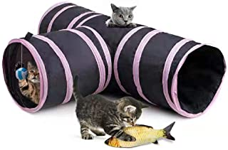 Blnboimrun Pet Cat Tunnel for Indoor,Collapsible 3 Way Tube Toys,Peek Hole Toy Ball,Also Included is an Interactive Catnip Fish,Fun for Rabbits,Kittens and Dogs