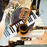Artland Qualitätsbilder I Poster Kunstdruck Bilder 70 x 70 cm Musik Instrumente Collage Orange I8EI Trompeten