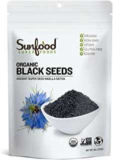 Sunfood Superfoods Black Seeds Organic Cumin. Medicinal Properties- Immunity, Anti-Inflammatory, Anti-Oxidant. Use on Salads, Tea, Trail-Mix. Ready-to-Eat or Lightly Toast for Essential Oils. 8 oz Bag