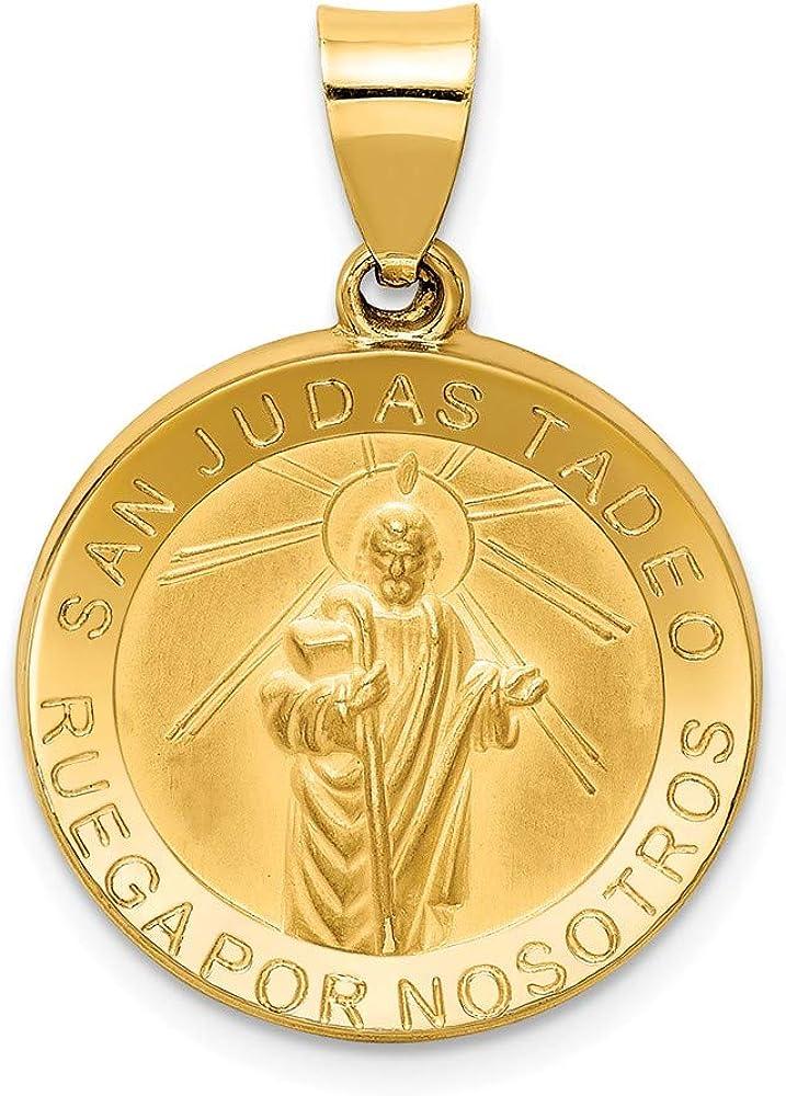 Black Bow Jewelry 14k Yellow Gold Hollow San Judas Tadeo Medal Pendant, 19mm (3/4 Inch)