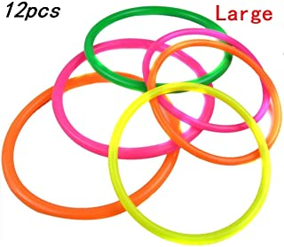 VANVENE 12 Pcs Multicolor Plastic Toss Rings for Speed and Agility Practice Outdoor Games Bridal Shower Kids