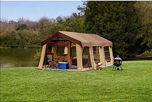 Large 10 Person Family Cabin Tent w/Front Porch, Room Divider and Rear Door. Great for Family,...
