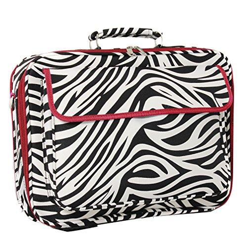 World Traveler 17 Inch Laptop Computer Case, Red Trim Zebra, One Size