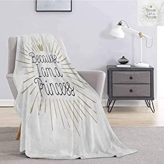 Luoiaax I am a Princess Plush Blanket for Bed Couch Because I am A Princess Calligraphy Hand Drawn Lettering Crown Soft Fuzzy Blanket for Couch Bed W59 x L70.5 Inch Eggshell Black White