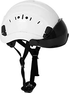 SMASYS Safety Hard Hat ABS Helmet Adjustable with Visor 6-Point Suspension Perfect for Construction and Climbing (Smoked Visor)