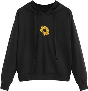 SweatyRocks Women's Letter Print Long Sleeve Hoodie Casual Sweatshirt Pullover Crop Top