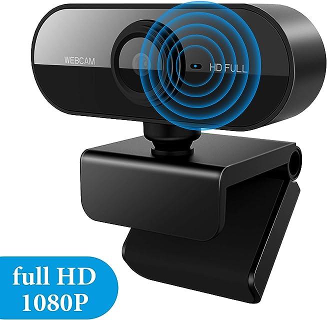 Homealexa Cámara Web con Micrófono HD 1080P Streaming Webcam para PC Mac portátil conectar y usar cámara USB para llamadas de video Skype Youtube estudio conferencia juegos con clip giratorio