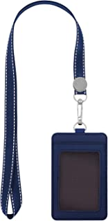 "Fushing 2-Sided Leather ID Card Holder with Lanyard, Genuine Leather Badge Holder with 1 ID Window, 2 Card Slots, 1 Piece 18.7"" Polyester Detachable ID Lanyard with Swivel J Hook(Blue, Vertical)"