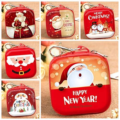 Libelyef Caja cuadrada de lata de Navidad para guardar dulces, galletas, hornear, regalo, caja de lata con cierre de nailon para velas de bricolaje, especias, té, caramelos, regalos de fiesta y regalos, color de estilo, squarestyle