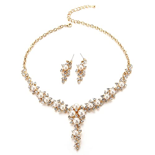 Original Gold Plated Rhinestone Crystal Multi Pearls 4 Pieces Jewelry Set Moderate Price Jewelry & Watches Jewelry Sets