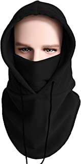 XINGZHE SWEET-504 Winter Warm Tactical Heavyweight Balaclava Fleece Outdoor Sports Ski Mask Windproof Hat Thick Hood Cold Weather Snowboarding Full Face Skull Mask, Black