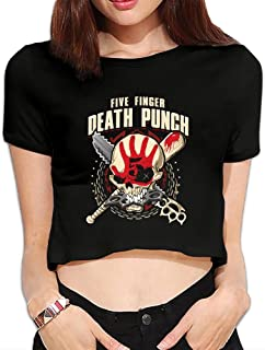 MaryMShea055 Five Finger Death Punch Womans Tops T-Shirt Youth Girls Short Sleeve Tshirt Hip-Hop Blouse Dew Navel