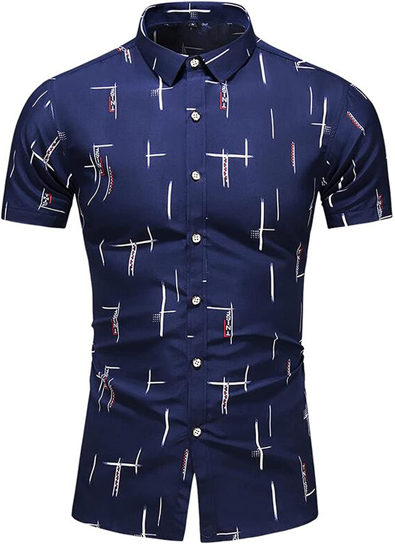 Mens Lapel Dress Shirts Slim Fit Short Sleeve Printed Button Down Shirt